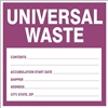UNIVERSAL WASTE... Shipping Label 6x6 10 Pack