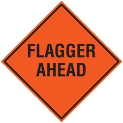 "Bone Safety Signs - 48"" Mesh Roll-Up ""FLAGGER AHEAD"" Sign with Ribs"