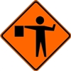 "Bone Safety Signs - 48"" Mesh Roll-Up ""FLAGGER AHEAD"" Symbol Sign with Ribs"