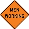 "Bone Safety Signs - 48"" Mesh Roll-Up ""MEN WORKING"" Sign with Ribs"