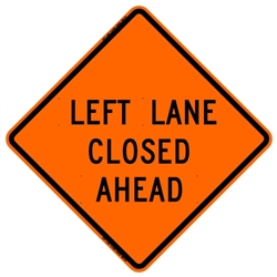 "Bone Safety Signs - 48"" Mesh Roll-Up ""Left Lane Closed Ahead"" Sign with Ribs"