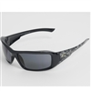 Edge -  Brazeau Designer Series Black Frame with Skull Design Polarized Smoke Lens