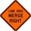 "Bone Safety Signs - 48"" Mesh Roll-Up ""LANE ENDS MERGE RIGHT"" Sign with Ribs"
