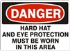 HARD HAT AND EYE PROTECTION... Danger Sign 10x14