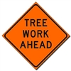 "Bone Safety Signs - 48"" Mesh Roll-Up ""Tree Work Ahead"" Sign with Ribs"
