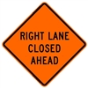 "Bone Safety Signs - 48"" Mesh Roll-Up ""Right Lane Closed Ahead"" Sign with Ribs"