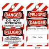 DO NOT OPERATE... Tagboard Danger Tag 6x3 25 Pack