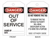 OUT OF SERVICE Tagboard Danger Tag 6x3 25 Pack
