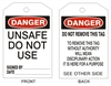 UNSAFE DO NOT USE... Tagboard Danger Tag 6x3 25 Pack