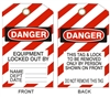 EQUIPMENT LOCKED OUT... Tagboard Danger Tag 6x3 25 Pack