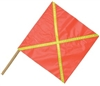 "Red Warning Flag 24x24 with Reflective X - 36"" Dowel"