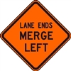 "Bone Safety Signs - 48"" Mesh Roll-Up ""LANE ENDS MERGE LEFT"" Sign with Ribs"